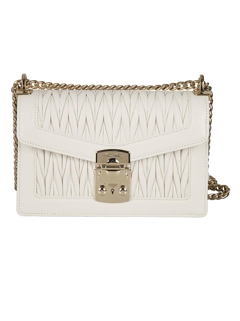 Miu Miu Matelassé Chain Shoulder Bag - White