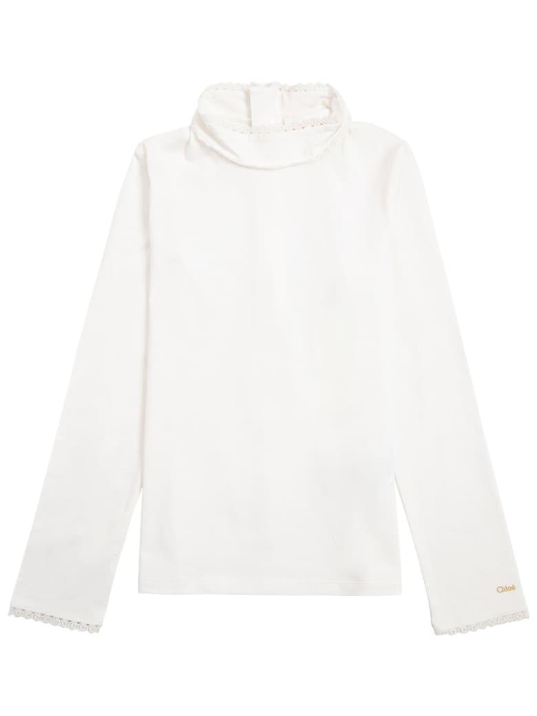 Chloé White Cotton Turtleneck - White