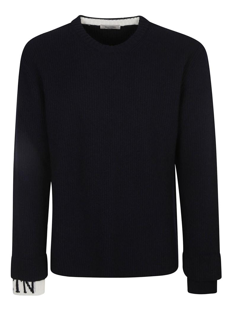 Valentino Vltn Cuffs Knit Sweater - Navy/Ivory