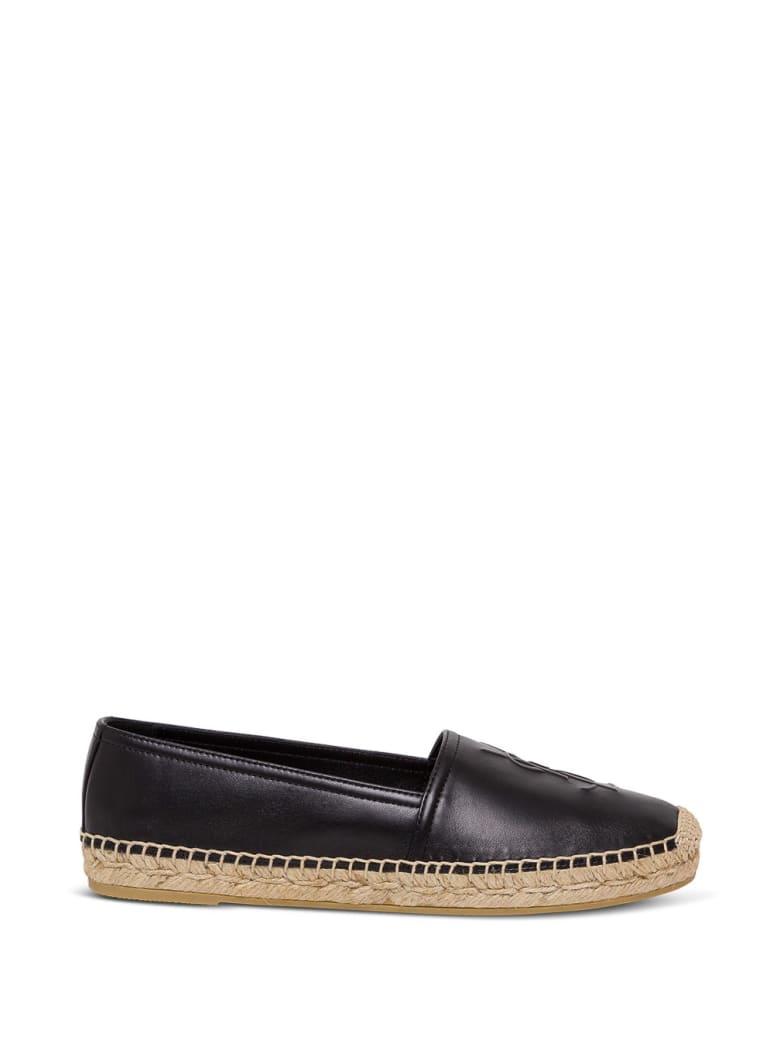 Saint Laurent Flat Heel Leather Up Espadrillas - Black