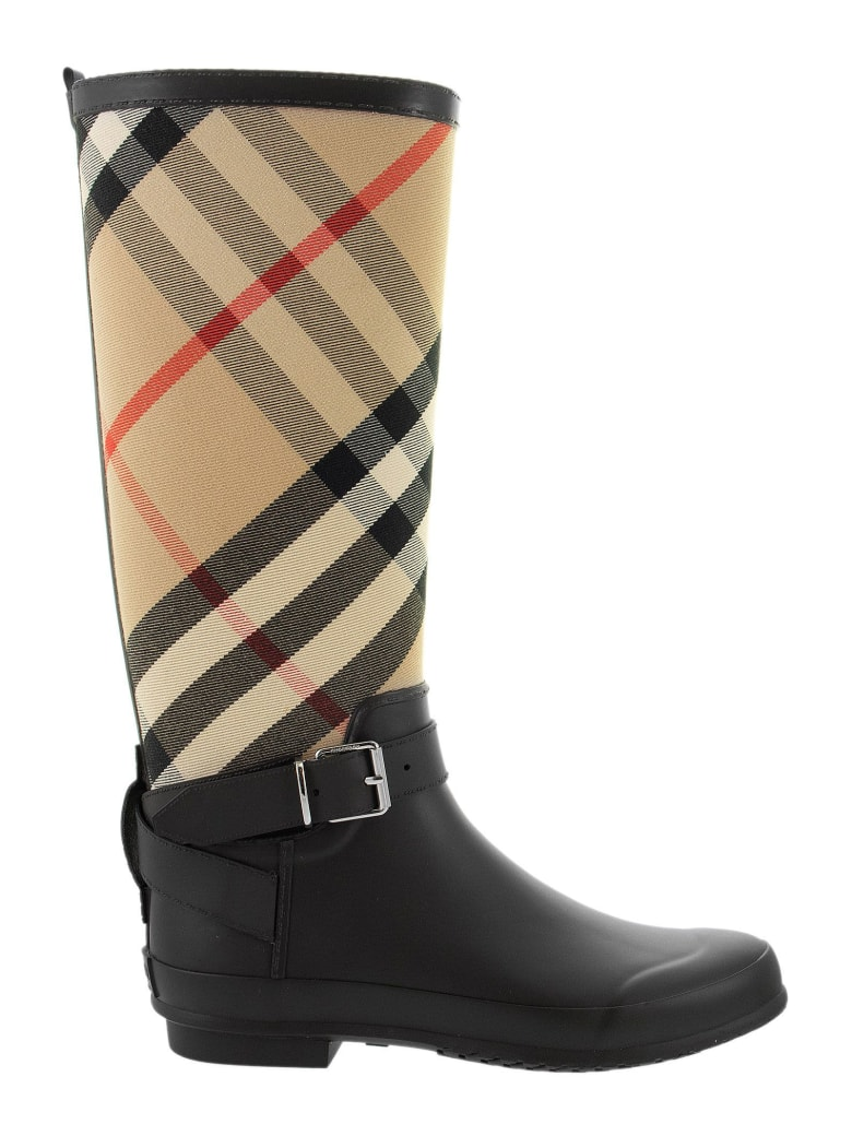 Burberry Simeon - Tartan Rain Boots - Black/archive Beige