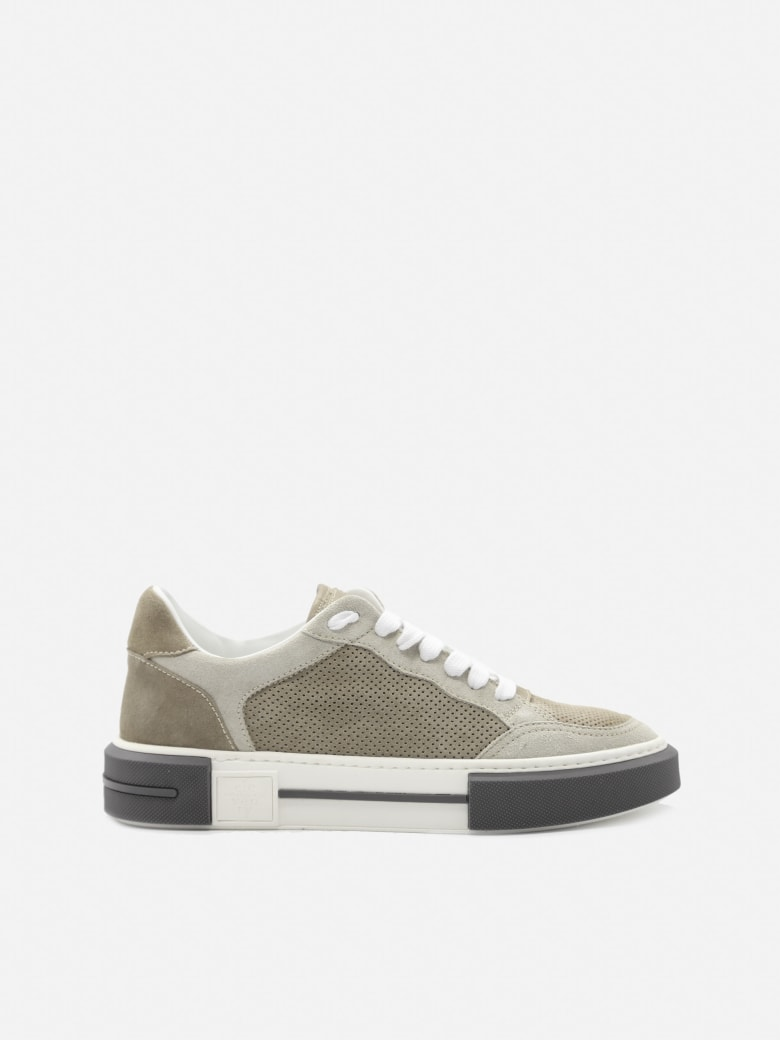 Eleventy Leather Sneakers With Perforated Details - Sand