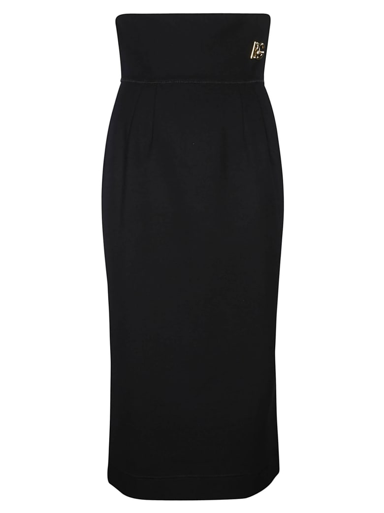 Dolce & Gabbana High-waist Logo Plaque Skirt - Nero