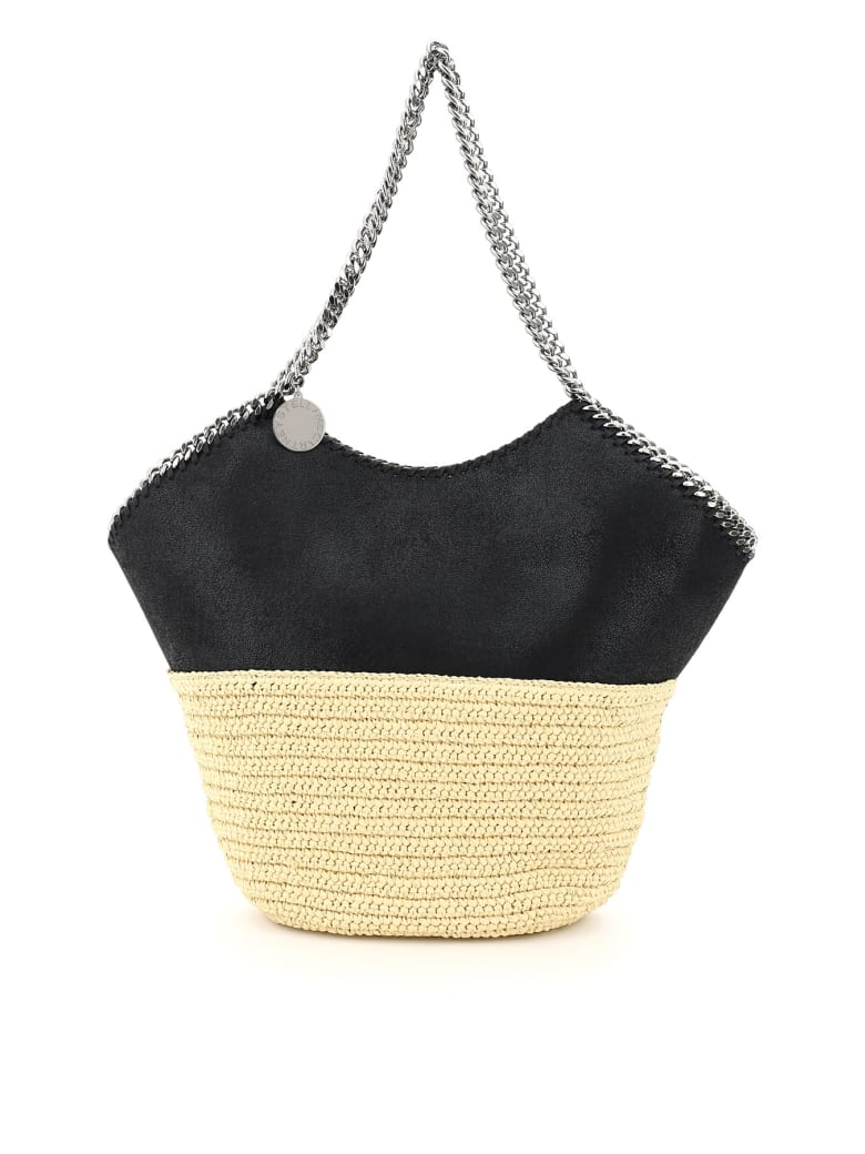 Stella McCartney Large Faux Leather And Raffia Tote With Chain - Black