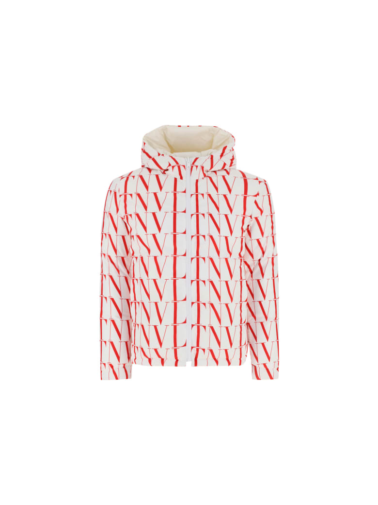 Valentino Down Jacket - Bianco/rosso