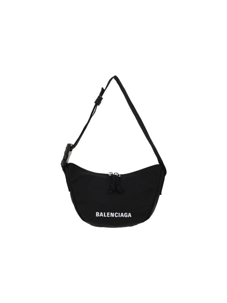 Balenciaga Wheel Sling Bag - Black/black/l white