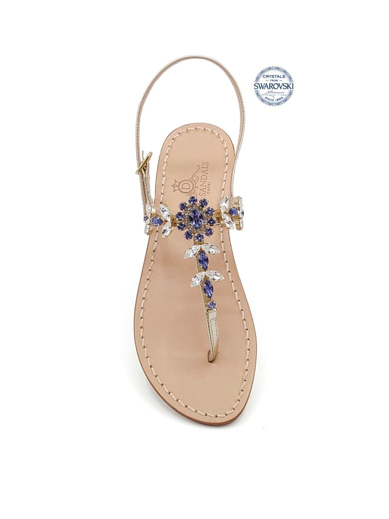 Dea Sandals Marina Grande Flip Flops Thong Sandals - gold, crystal, purple tanzanite