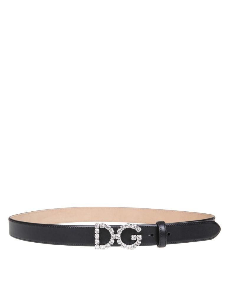 Dolce & Gabbana Jewel Belt With Dg Logo - Black