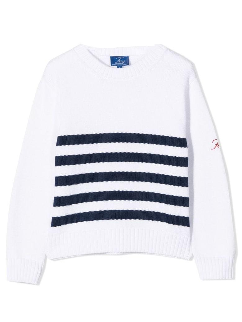 Fay White Cotton Jumper - Bianco+blu
