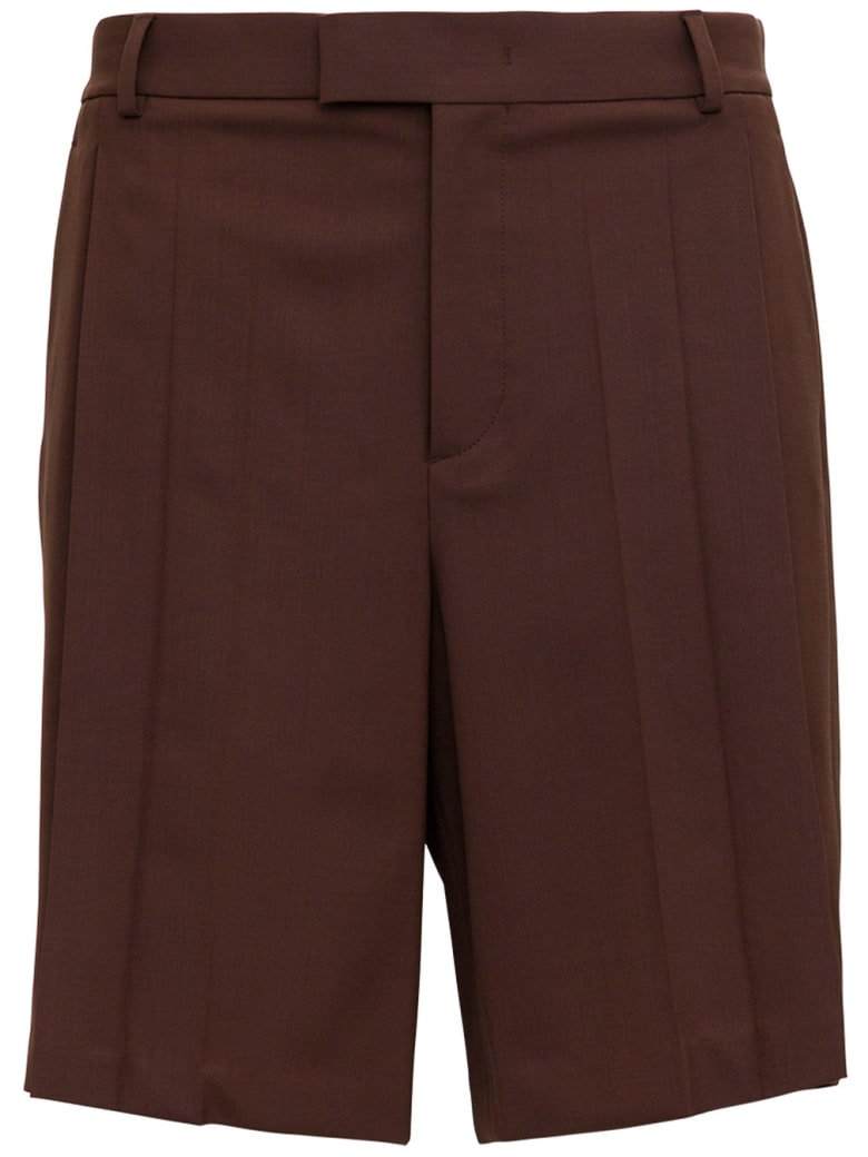 Valentino Brown Bermuda Shorts With Pleats Detail - Brown