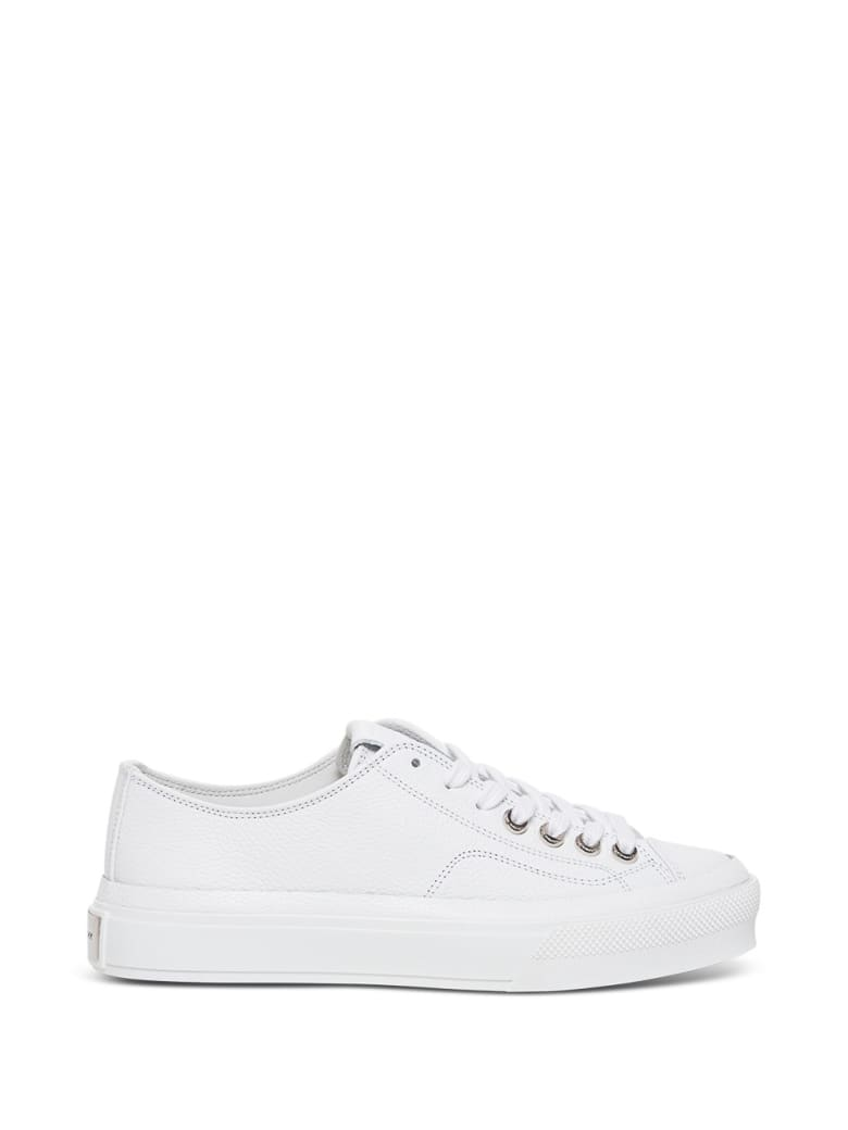 Givenchy White Grain Leather City Sneakers - White