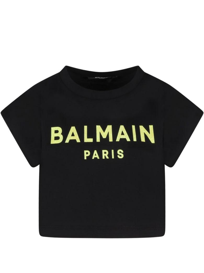 Balmain Black T-shirt For Girl With Yellow Logo - Black