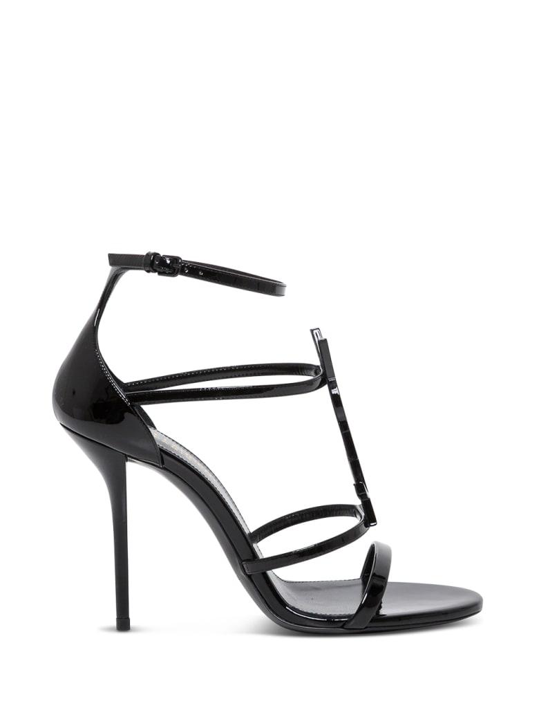 Saint Laurent Cassandra Black Leather Sandals  With Logo - Black