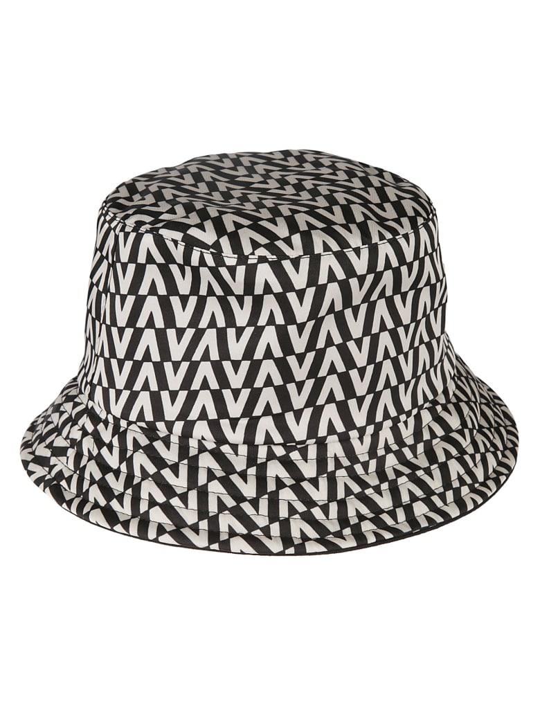 Valentino Garavani Stripe Patterned Logo Bucket Hat - Black and white