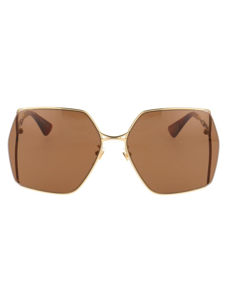 Gucci Gg0817s Sunglasses - 002 GOLD GOLD BROWN