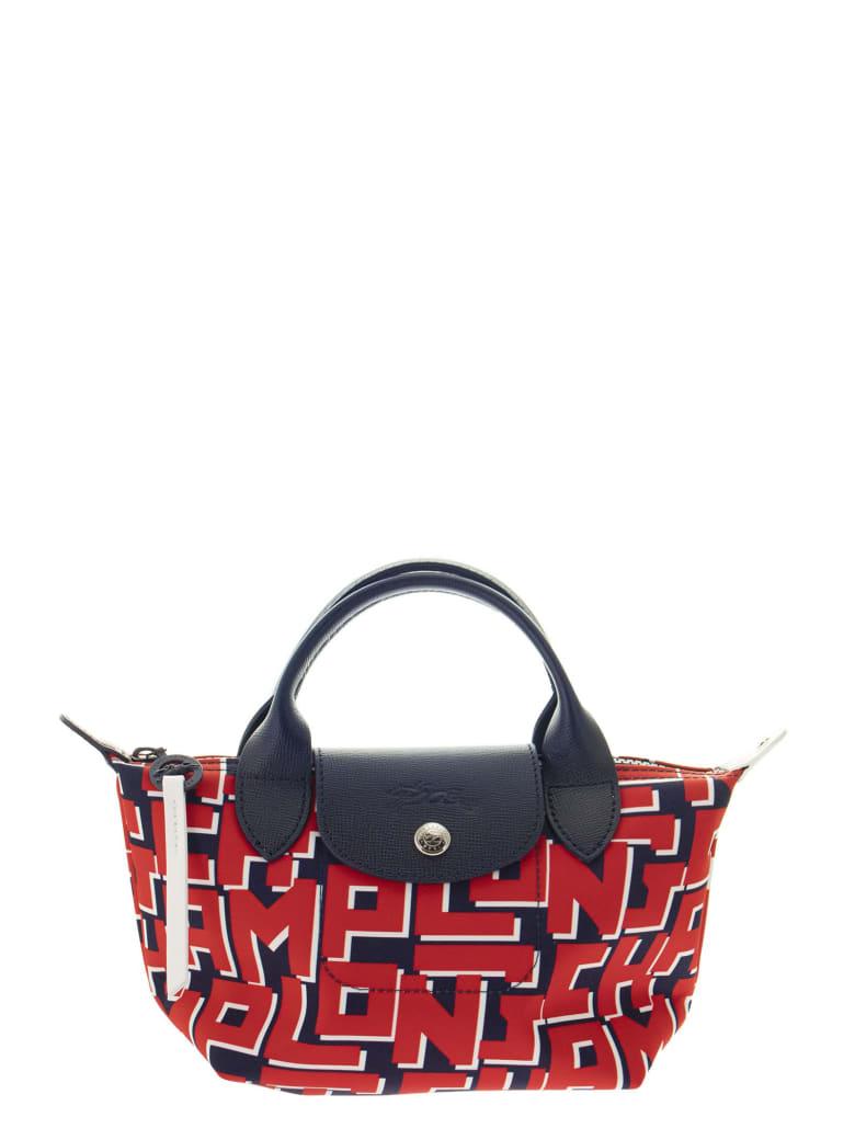Longchamp Le Pliage Lgp - Top Handle Bag Xs - Navy/red