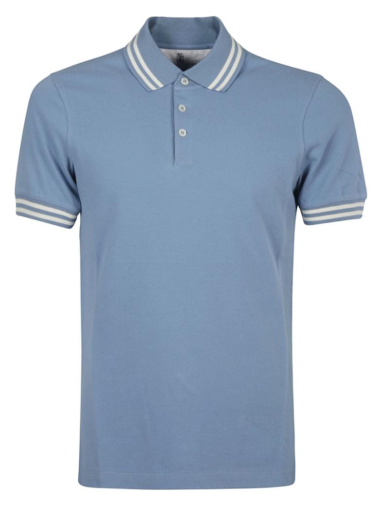 Brunello Cucinelli Stripe Trimmed Slim Polo Shirt - River