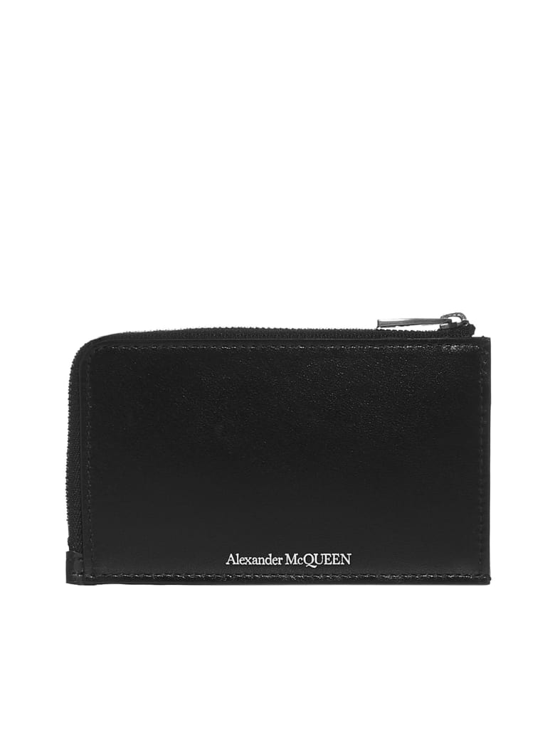 Alexander McQueen Logo Leather Card Holder - Black