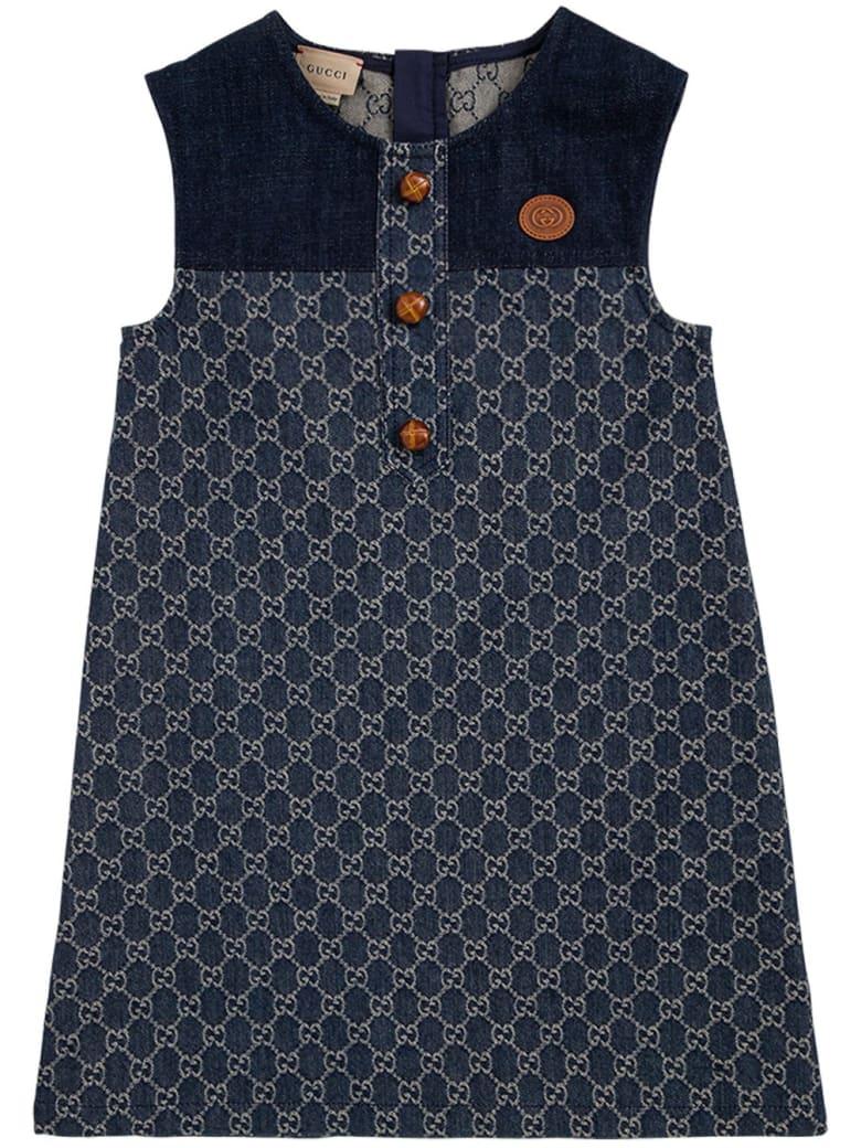 Gucci Gg Jacquard Denim Dress - Blu