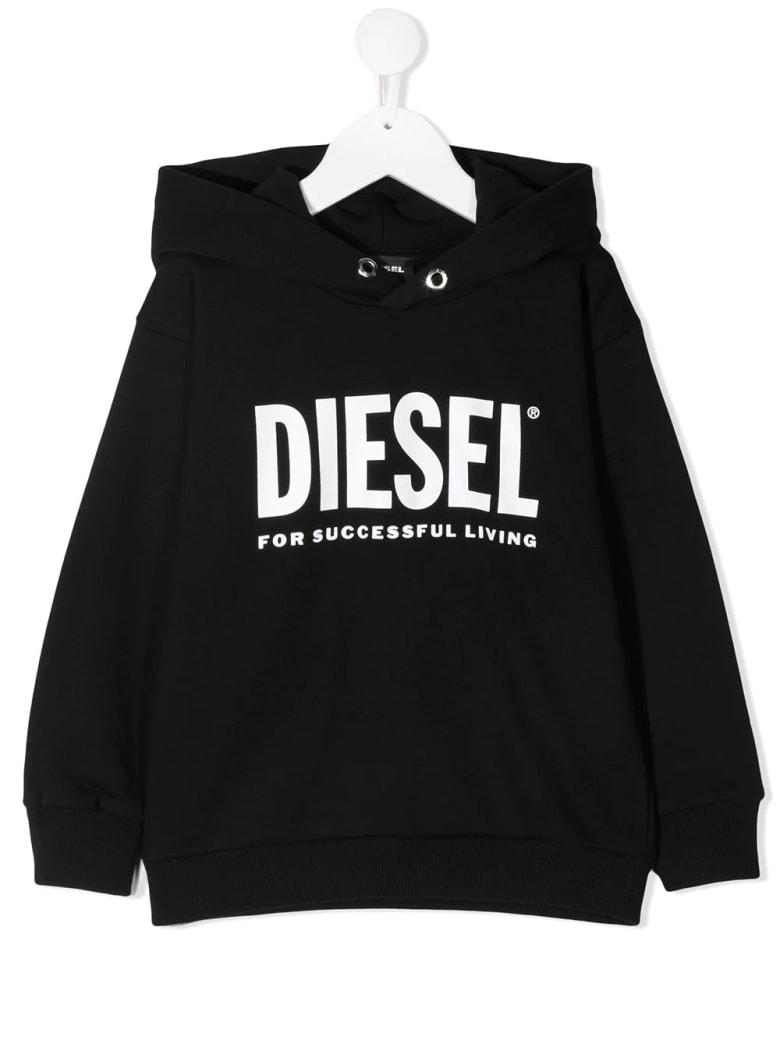 Diesel Kids Black Hoodie With White Oversize Logo
