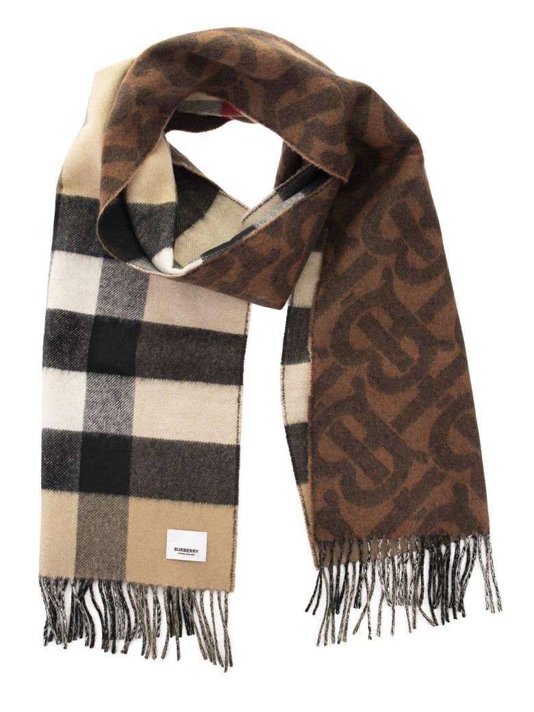 Burberry Tb Half Mega - Reversible Cashmere Scarf With Tartan And Monogram Pattern - Dark Chestnut Brown
