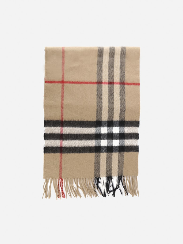 Burberry Classic Cashmere Scarf With Tartan Motif - Archive beige
