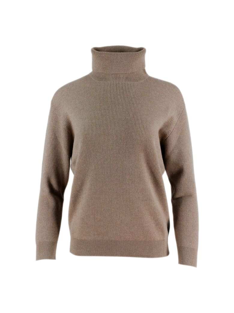 Brunello Cucinelli English Rib Cashmere Turtleneck Sweater With Monili On The Back - Tobacco