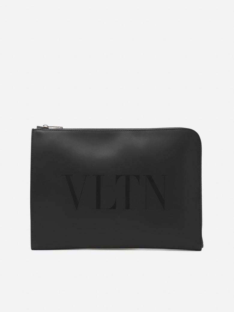 Valentino Garavani Leather Card Holder With Tone-on-tone Vltn Print - Black