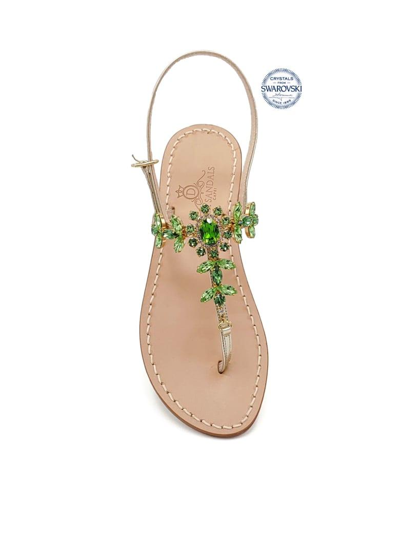 Dea Sandals Marina Grande Flip Flops Thong Sandals - gold, crystal, green