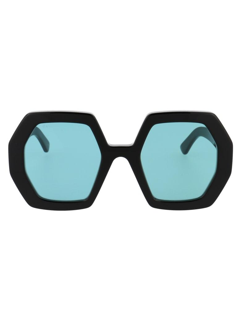 Gucci Gg0772s Sunglasses - 001 BLACK BLACK GREEN