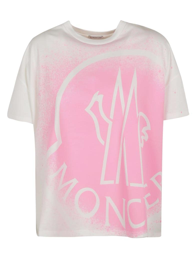 Moncler Spray Paint Logo T-shirt - White/Pink