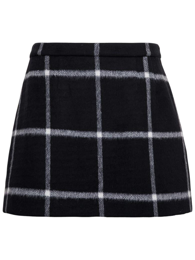 RED Valentino Wool Check Skirt - Black