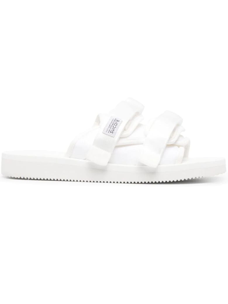 SUICOKE White Moto-cab Slide Sandals - Bianco