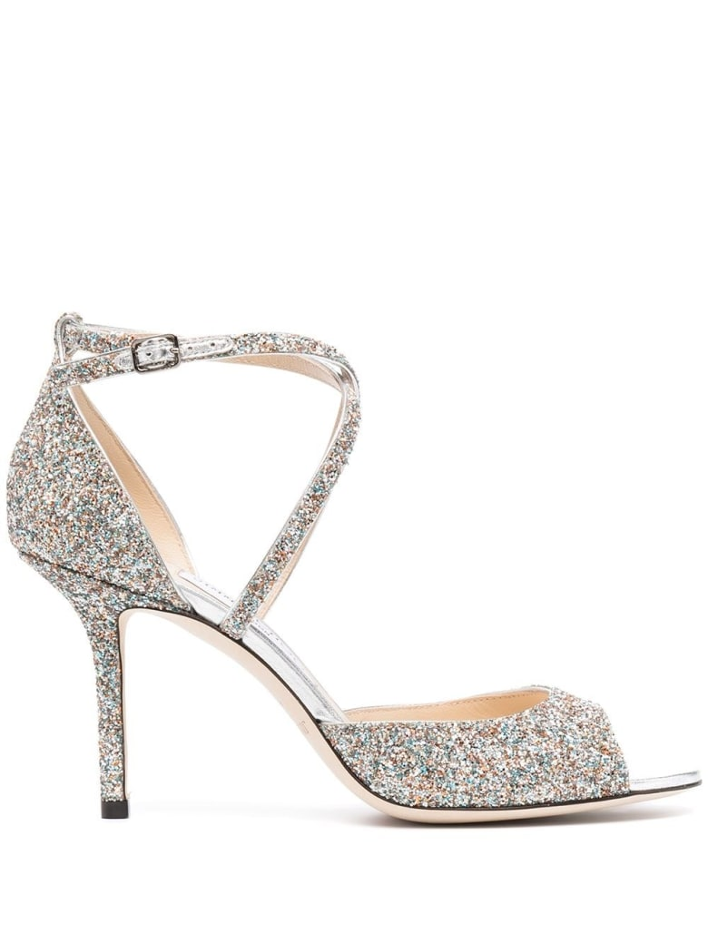 Jimmy Choo Emsy Glitter Sandals - Argento