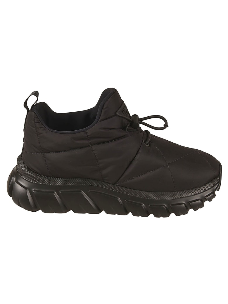Prada Quilted Logo Patch Sneakers - Black