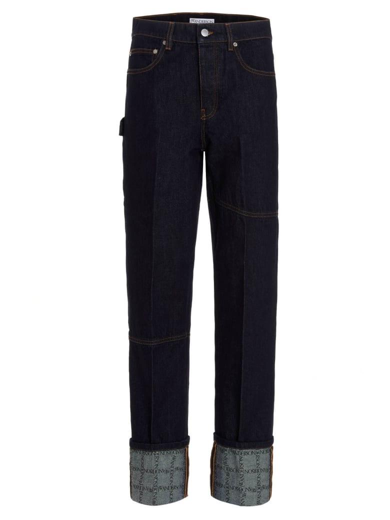 J.W. Anderson 'logo Grid Turn Up Workwear' Jeans - Blu Denim