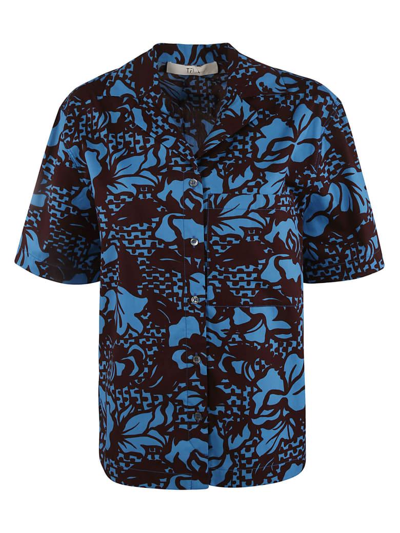 Tela Tropical Print Shirt - Blue/Brown
