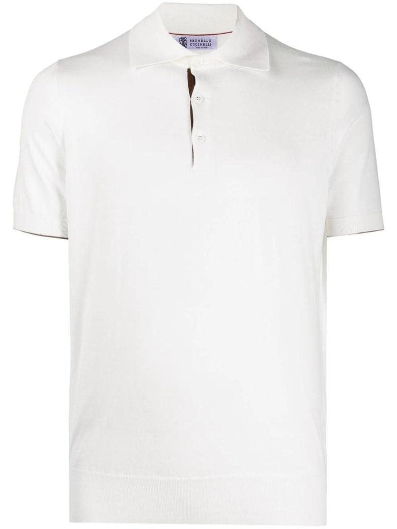Brunello Cucinelli White Cotton Polo Shirt - Panna