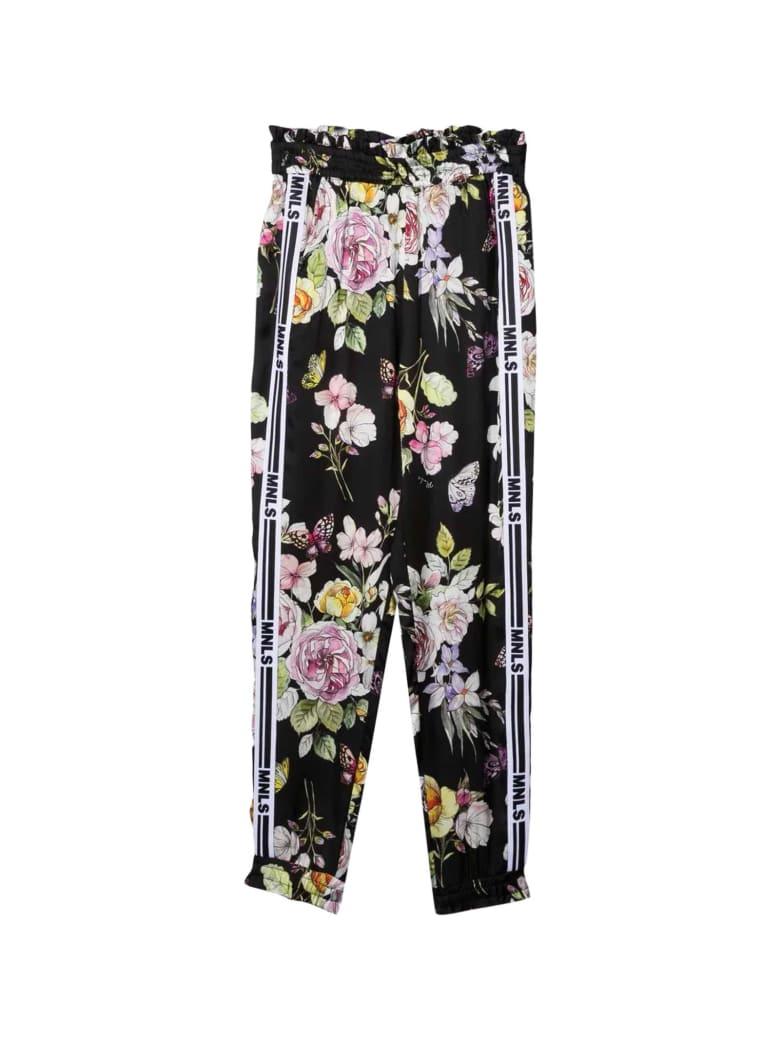 Monnalisa Floral Trousers - Nero