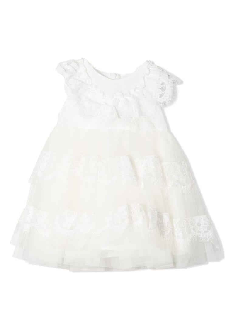 Monnalisa White Tulle Dress - Panna