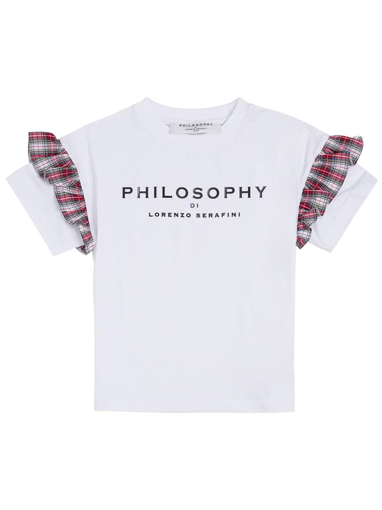 Philosophy di Lorenzo Serafini Kids Cotton T-shirt With Logo And Ruffles Detail - White