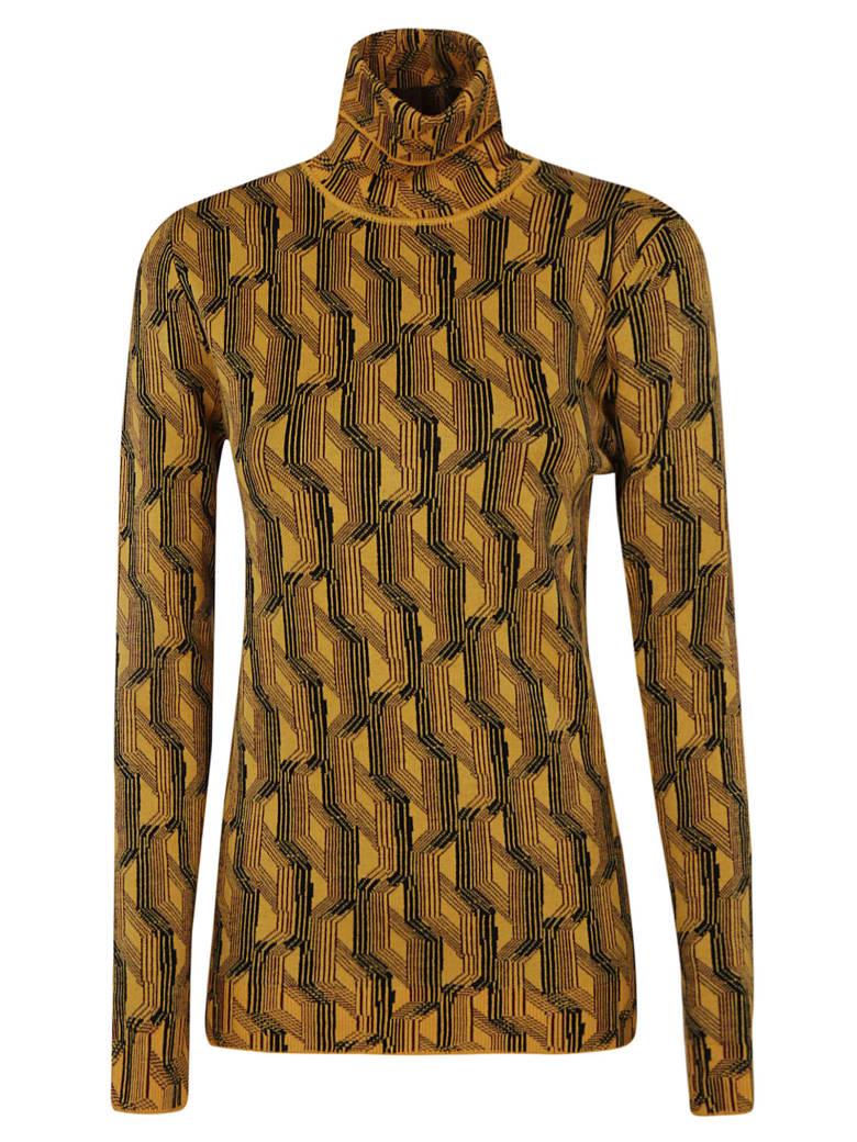 Prada All-over Pattern Printed Turtleneck Jumper - Mais/Bordeaux