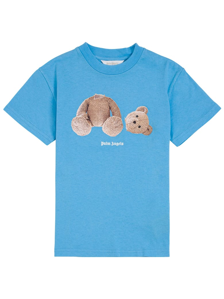 Palm Angels Blue Cotton T-shirt With Teddy Bear Print - Light blue