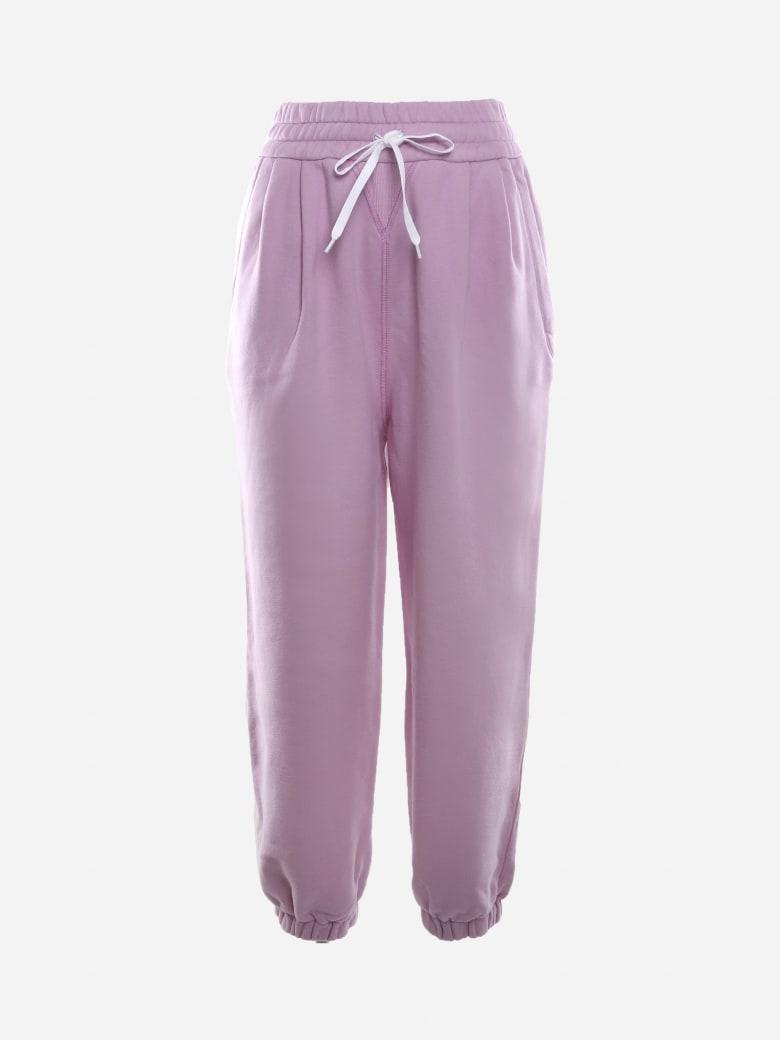 Miu Miu Cotton Trousers With Logo Print - Purple
