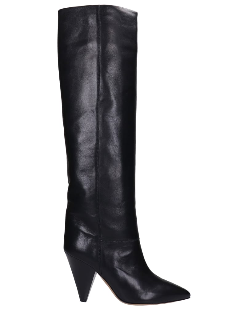 Isabel Marant Lybill High Heels Boots In Black Leather - black