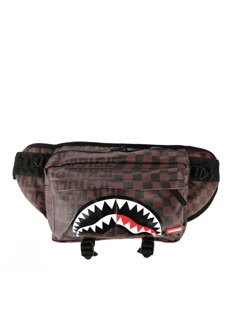 Sprayground Shark Check Pattern Belt Bag - Brown