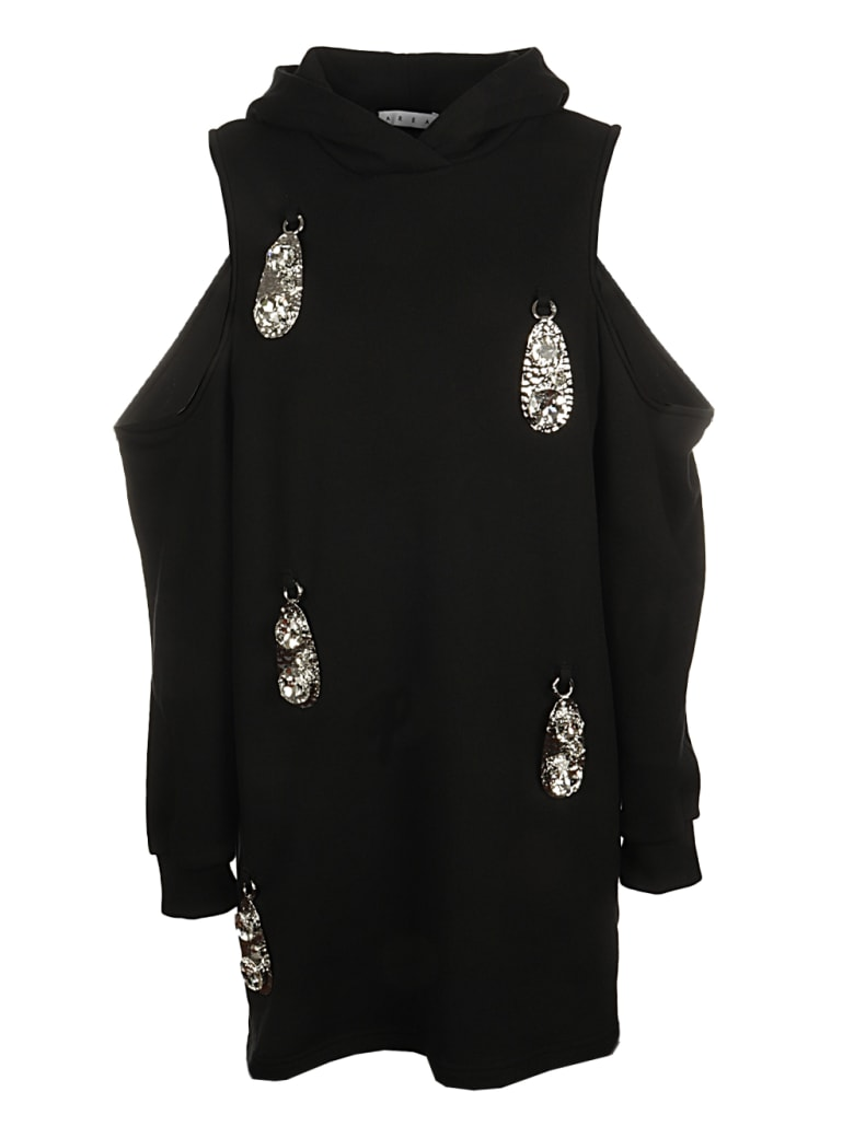 AREA Hammered Pendant Cold Shoulder Hoodie Dress - BLACK