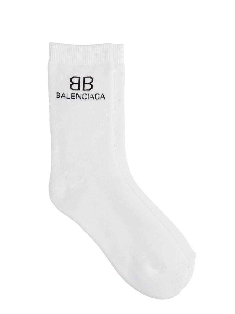 Balenciaga Socks In White Cotton - BIANCO/NERO
