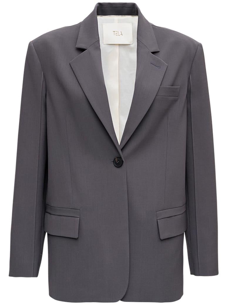 Tela Dolly Grey Blazer In Wool Blend - Grey