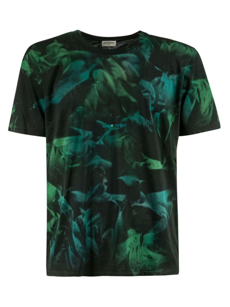 Saint Laurent Tropical Print T-shirt - Green/Black
